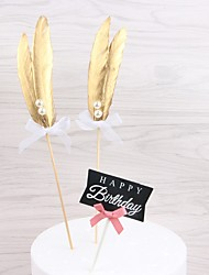 cheap -Cake Topper Classic Theme / Holiday / Wedding Artistic / Retro / Unique Design Feathers Wedding / Birthday with Feather 1 pcs OPP