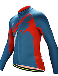 cheap -cheji® Men's Long Sleeve Cycling Jersey Winter Fleece Jacquard Red+Blue Bike Top Mountain Bike MTB Road Bike Cycling Breathable Quick Dry Sports Clothing Apparel / Micro-elastic