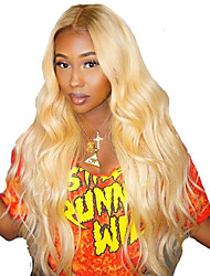 cheap -Remy Human Hair Human Hair 360 Frontal Wig Bob Short Bob Kardashian style Brazilian Hair Body Wave Blonde Wig 150% Density with Baby Hair Natural Hairline African American Wig For Black Women With