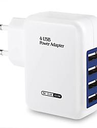 Недорогие -Портативное зарядное устройство / Беспроводное зарядное устройство Зарядное устройство USB Евро стандарт 4 USB порта 3.1 A DC 5V для