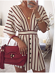 cheap -Women's White Dress Daily A Line Deep V S M / Cotton / Sexy
