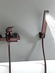 cheap -Antique Oil-rubbed Bronze Wall Mounted Ceramic Valve Bath Shower Mixer Taps-Bathtub Faucet / Tub Faucets