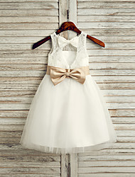 cheap -Princess Tea Length Flower Girl Dress - Lace / Tulle / Satin Chiffon Sleeveless Jewel Neck with Belt / First Communion