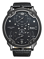 cheap -Oulm Men's Wrist Watch Quartz Oversized Fashion Dual Time Zones Leather Black / Blue / Brown Analog - White Black Blue One Year Battery Life / Japanese / Large Dial / Japanese / Jinli 377 / Steampunk