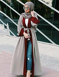 cheap -Adults' Women's A-Line Slip Ethnic Arabian Dress Abaya Kaftan Dress Jalabiya Muslim Dress Maxi Dresses For Halloween Daily Wear Festival Polyster Patchwork Long Length Dress 1 Belt
