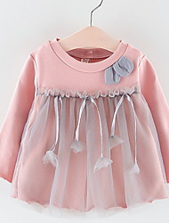 cheap -Baby Girls' Active Dusty Rose Color Block Lace Long Sleeve Dress White / Toddler