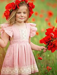 cheap -Kids Girls' Basic Dusty Rose Solid Colored Sleeveless Dress Blushing Pink