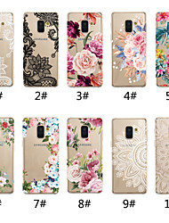 cheap -Case For Samsung Galaxy A5(2018) / A6 (2018) / A6+ (2018) Transparent / Pattern Back Cover Lace Printing / Flower Soft TPU
