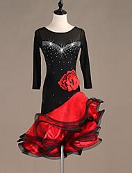 cheap -Latin Dance Dresses Women's Performance Spandex Embroidery / Split Joint / Crystals / Rhinestones Long Sleeve Dress