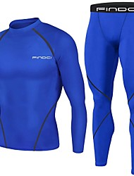 cheap -FINDCI Men's Compression Suit Winter Running Active Training Gym Workout Lightweight Breathable Sweat-wicking Sportswear Royal Blue Navy Blue Base layer Compression Shirt and Pants Long Sleeve