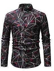 cheap -Men's Going out Club Beach Boho / Street chic EU / US Size Cotton Shirt - Geometric / Graphic Print Classic Collar Blue / Long Sleeve / Summer