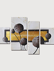 cheap -Oil Painting Hand Painted - Abstract Floral / Botanical Modern Stretched Canvas / Four Panels