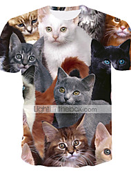 cheap -Men's Daily Weekend Basic / Street chic T-shirt - Animal Cat, Print Round Neck Rainbow / Short Sleeve