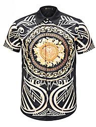 cheap -Men's Daily Shirt - Geometric Print Black / Short Sleeve