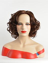 cheap -Synthetic Wig Curly Asymmetrical Wig Short Dark Auburn Synthetic Hair 12 inch Women's Party Dark Brown
