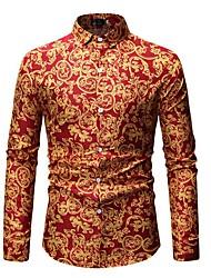 cheap -Men's Going out Club Beach Boho / Street chic EU / US Size Cotton Shirt - Tribal Print Classic Collar Green / Long Sleeve / Summer