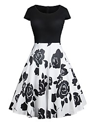 cheap -Women's Holiday Going out Vintage Elegant Swing Dress - Floral Rose, Patchwork Print High Waist Summer White L XL XXL