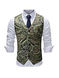 cheap -Men's Daily Active / Basic Spring & Summer / Fall & Winter Plus Size Regular Vest, Print V Neck Sleeveless Polyester Green