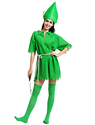 cheap -Peter Pan Masquerade Adults' Women's Halloween Carnival St Patricks Day Festival / Holiday Polyster Green Female Carnival Costumes Shamrock Novelty