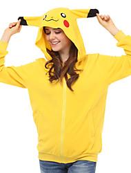 cheap -Adults' Hoodie Kigurumi Pajamas Pika Pika Onesie Pajamas Polar Fleece Yellow Cosplay For Men and Women Animal Sleepwear Cartoon Festival / Holiday Costumes