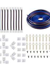 cheap -5050 5630 3014 4Pin LED Strip Connector Kit - 10mm RGB LED Connector Kit includes 5M RGB Extension Cable 10x LED Strip Jumper 10x L Shape Connectors 10x Gapless Connectors 20x LED Strip Clips