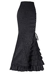 cheap -Women's Boho Maxi Bodycon / Trumpet / Mermaid Skirts - Solid Colored Layered Black Purple Red M L XL / Slim
