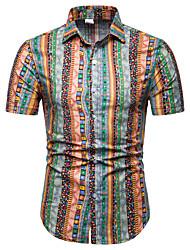 cheap -Men's Club Weekend Business / Street chic EU / US Size Linen Shirt - Color Block Print Classic Collar Red / Short Sleeve