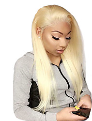 cheap -Virgin Human Hair Full Lace Wig Gaga style Brazilian Hair Straight Blonde Wig 130% Density with Baby Hair Best Quality Hot Sale with Clip Women's Medium Length Human Hair Lace Wig WoWEbony