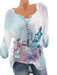cheap -Women's Daily Blouse - Geometric Floral / Fashion / Button Blue XXXL / Spring / Summer / Fall / Winter / Print