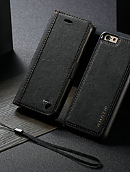 cheap -Case For Apple iPhone 6s / iPhone 6 Wallet / with Stand / Flip Full Body Cases Solid Colored Hard PU Leather / DIY