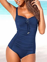 cheap -Women's Sporty Basic Strap Black Navy Blue Wine Triangle Cheeky One-piece Swimwear - Solid Colored Backless L XL XXL Black / Super Sexy