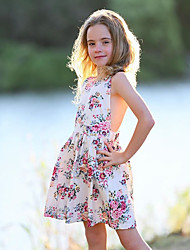 cheap -Kids Toddler Girls' Cute Daily Floral Lace Lace up Print Sleeveless Dress White