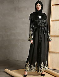 cheap -Adults' Women's Ethnic Arabian Dress Abaya Kaftan Dress For Halloween Daily Wear Festival Faux Silk Embroidery Embroidery Long Length Dress Belt / Shawl