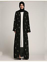 cheap -Adults' Women's A-Line Slip Ethnic Arabian Dress Abaya Kaftan Dress Jalabiya Muslim Dress Maxi Dresses For Halloween Daily Wear Festival Polyster Printing Long Length Dress 1 Belt