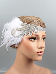 cheap -Vintage 1920s The Great Gatsby Feathers Headbands / Headpiece / Hair Accessory with Crystal / Feather 1 pc Wedding / Party / Evening Headpiece