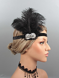 cheap -Vintage 1920s The Great Gatsby Feathers Headbands / Headpiece / Hair Accessory with Rhinestone / Crystal / Feather 1 pc Wedding / Party / Evening Headpiece