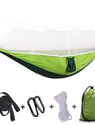 abordables -Hamac de Camping avec Filet à Moustique Extérieur Portable Ultra léger (UL) Séchage rapide Nylon Parachute avec mousquetons et sangles pour 2 personne Pêche Camping Fuchsia Vert Véronèse Couleur