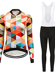 cheap -FirtySnow Women's Long Sleeve Cycling Jersey with Bib Tights White Black Plaid / Checkered Bike Clothing Suit Thermal / Warm Windproof Fleece Lining Winter Sports Polyester Plaid / Checkered Mountain