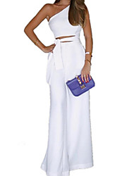 cheap -Women's Kentucky Derby Daily One Shoulder Black White Wide Leg Slim Jumpsuit Onesie, Solid Colored Lace up S M L Sleeveless