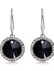 cheap -Women's Black Crystal Drop Earrings Round Cut Stylish Romantic Modern Silver Plated Imitation Diamond Earrings Jewelry Black / Silver For Party Formal Office & Career 1 Pair