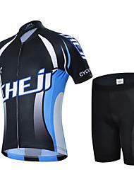 cheap -cheji® Boys' Girls' Short Sleeve Cycling Jersey with Shorts - Kid's Black / Blue Bike Breathable Quick Dry Sports Lycra Mountain Bike MTB Road Bike Cycling Clothing Apparel / High Elasticity