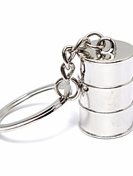 cheap -Car Mini Bucket Piston Model Metal KeyRing Keyfob Keychain Silver