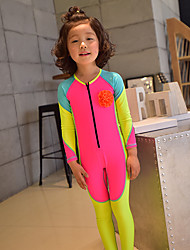 cheap -MEIYIER Girls' Rash Guard Dive Skin Suit Elastane Diving Suit Quick Dry Full Body 2-Piece Front Zip - Swimming Diving Water Sports Stripes Patchwork Summer / High Elasticity / Kid's