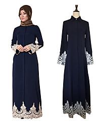 cheap -Adults' Women's A-Line Slip Lace Ethnic Arabian Dress Abaya Kaftan Dress Jalabiya Muslim Dress Maxi Dresses For Halloween Daily Wear Festival Lace Elastane Polyster Patchwork Lace Long Length Dress 1