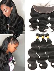 Недорогие -3 комплекта с закрытием Бразильские волосы Естественные кудри человеческие волосы Remy Накладки из натуральных волос Волосы Уток с закрытием 10-26 дюймовый Нейтральный Ткет человеческих волос
