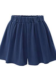 cheap -Women's Basic Plus Size Daily Cotton Wide Leg Shorts Pants - Solid Colored Black Navy Blue M / L / XL
