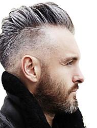 cheap -Men's Human Hair Toupees Straight 100% Hand Tied Soft / Dark Gray