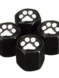 cheap -4Pcs Aluminum Alloy Footprint Pattern Car Wheel Tire Valve Stem Covers Caps Black
