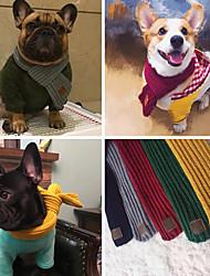 Недорогие -Собаки Коты Шарф для собаки Зима Одежда для собак Черный Красный + черный Пурпурный Костюм Акриловые волокна Простой В полоску Наколенники M