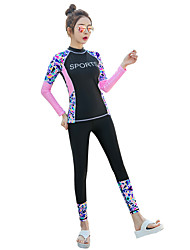 cheap -BANFEI Women's Rash Guard Dive Skin Suit Diving Suit Thermal / Warm UV Sun Protection Quick Dry Full Body 2-Piece - Swimming Surfing Water Sports Patchwork Floral Botanical Autumn / Fall Spring Summer
